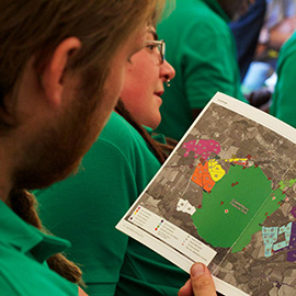 DC Site Services event staff in a briefing at the Glastonbury Festival