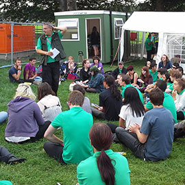 Matt Hettle briefing DC Site Services event staff at the 2013 Leeds Festival