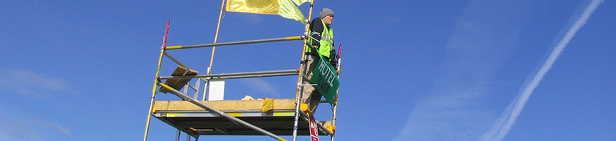 DC Site Services campsite watch tower Event Steward at the 2003 Womad Festival