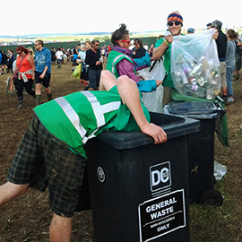 DC Site Services litter and recycling staff cleaning the Y Not Festival arena bins