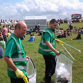 DC Site Services litter staff working in the 2013 Y Not Festival arena