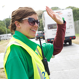 DC Site Services car parking staff managing traffic at the Glastonbury Festival