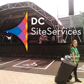 DC Site Services litter and recycling staff working in an event arena