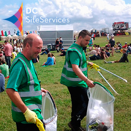 DC Site Services litter staff working in the Y-Not Festival arena