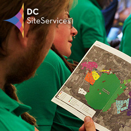 DC Site Services event staff in a briefing at Glastonbury Festival